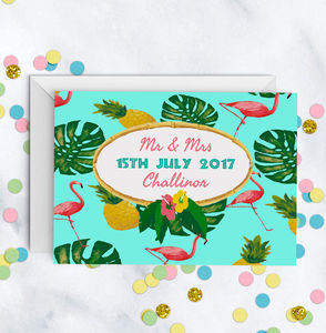 Tropical Pineapple Flamingo Leaf Print Wedding Card - wedding cards