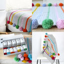 Pom Pom Stripe Crochet Blanket Kit