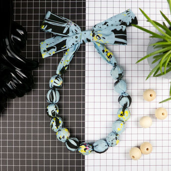 Chunky, Fabric Covered Bead Necklace 'Wild Meadow'