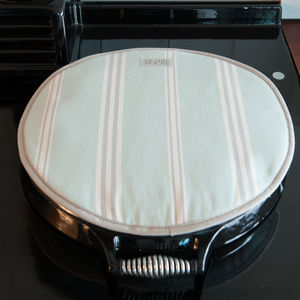 Eastnor Green Grey Stripe Hob Cover - aprons