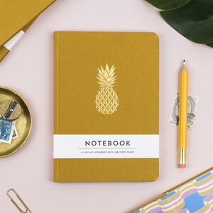 Pineapple Hardback Notebook In Mustard Yellow Fabric