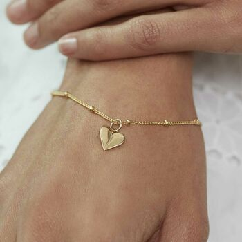 Personalised Heart Charm Bracelet Silver, Gold Or Rose