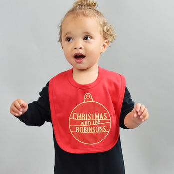 'Christmas With The…' Personalised Baby Bib