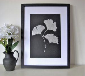 Framed Silver Ginkgo Botanical Leaf Painting - canvas prints & art