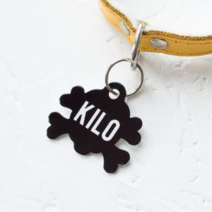 Personalised Name Pet Tag Skull Shaped - dogs