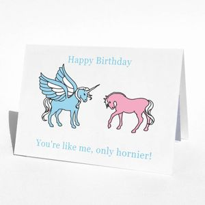 Birthday Unicorn Horny Birthday Card - birthday cards