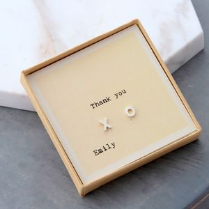 gift boxed thank you kiss and hug earrings