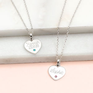 Personalised Sterling Silver Birthstone Heart Necklace - children's jewellery