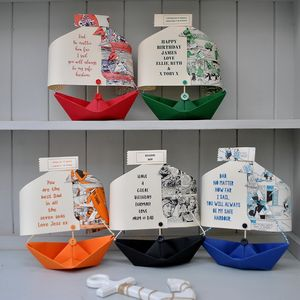 Comic Book Personalised Sailing Boat Card