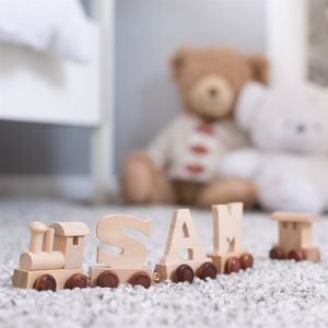 Personalised Wooden Name Train - baby's first christmas