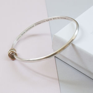Personalised Silver Bangle With Gold And Silver Rings - 25th anniversary: silver