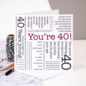 40th Birthday Card 'You're 40!' Quotes - birthday cards