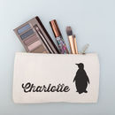 Personalised Penguin Cosmetic And Toiletry Bag