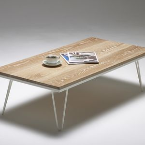 Solid Hardwood Coffee Table Industrial Hairpin Legs