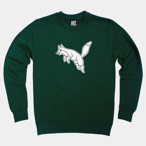 Heritage Green 'Fox' Embroidered Sweatshirt - christmas jumpers
