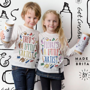 Personalised Little Artist Colour In T Shirt - t-shirts & tops
