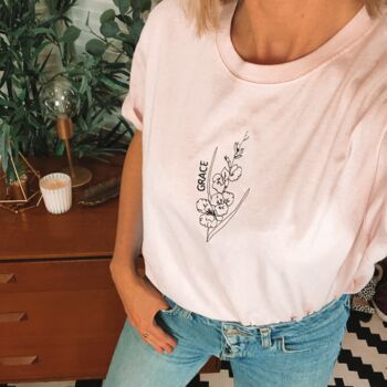 Personalised Embroidered Birth Flower T Shirt