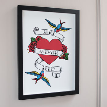 Couples Tattoo Heart Print