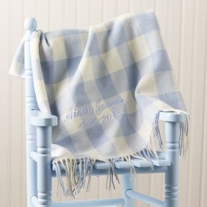 Personalised Blue Lambswool Baby Blanket - baby's room