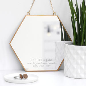 Personalised New Home Hexagon Mirror - housewarming gifts