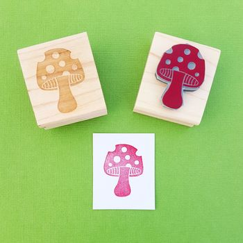 Spotty Toadstool Rubber Stamp