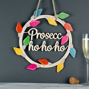 Christmas Wood Wreath Prosecco - wreaths