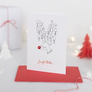 Pack Of Four Button Box Christmas Cards