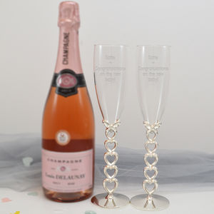 Personalised Champagne Glasses With Hearts In Box