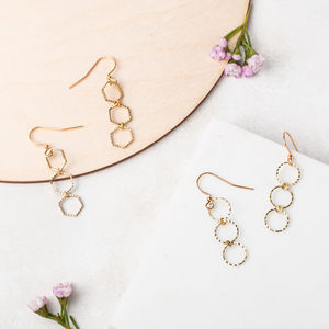 Geometric Trio Earrings In Circle Or Hexagon - earrings