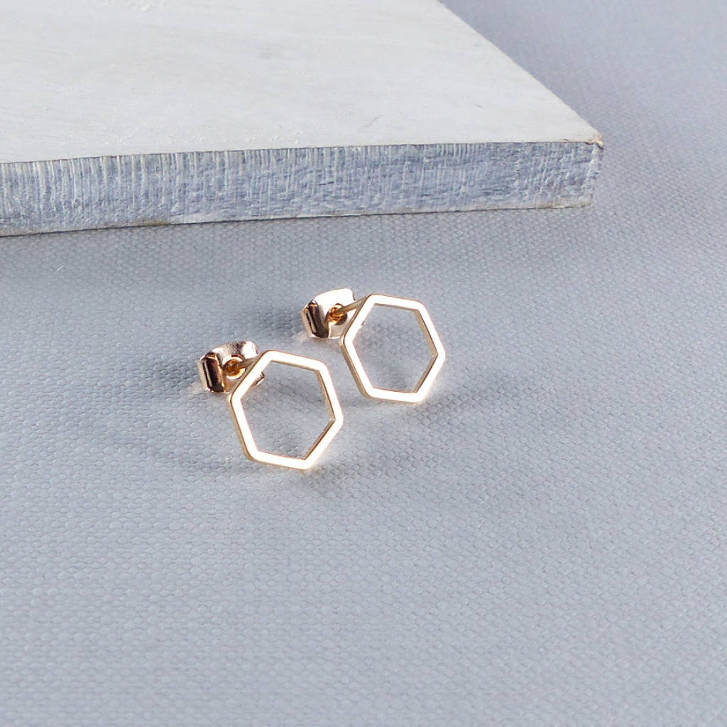 dc8d1785b hexagon gold stud earrings by evy designs | notonthehighstreet.com