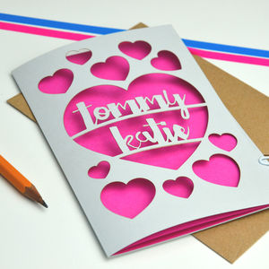 Personalise Papercut Love Heart Card - wedding cards