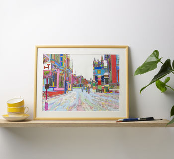 'In The Snow' Oxford Original Multicoloured Drawing