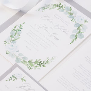 Eucalyptus Wreath Wedding Invitations