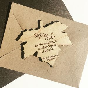 Autumn Leaf Wood Save The Date Magnet