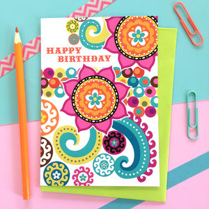 Colourful Happy Birthday Card - gifts