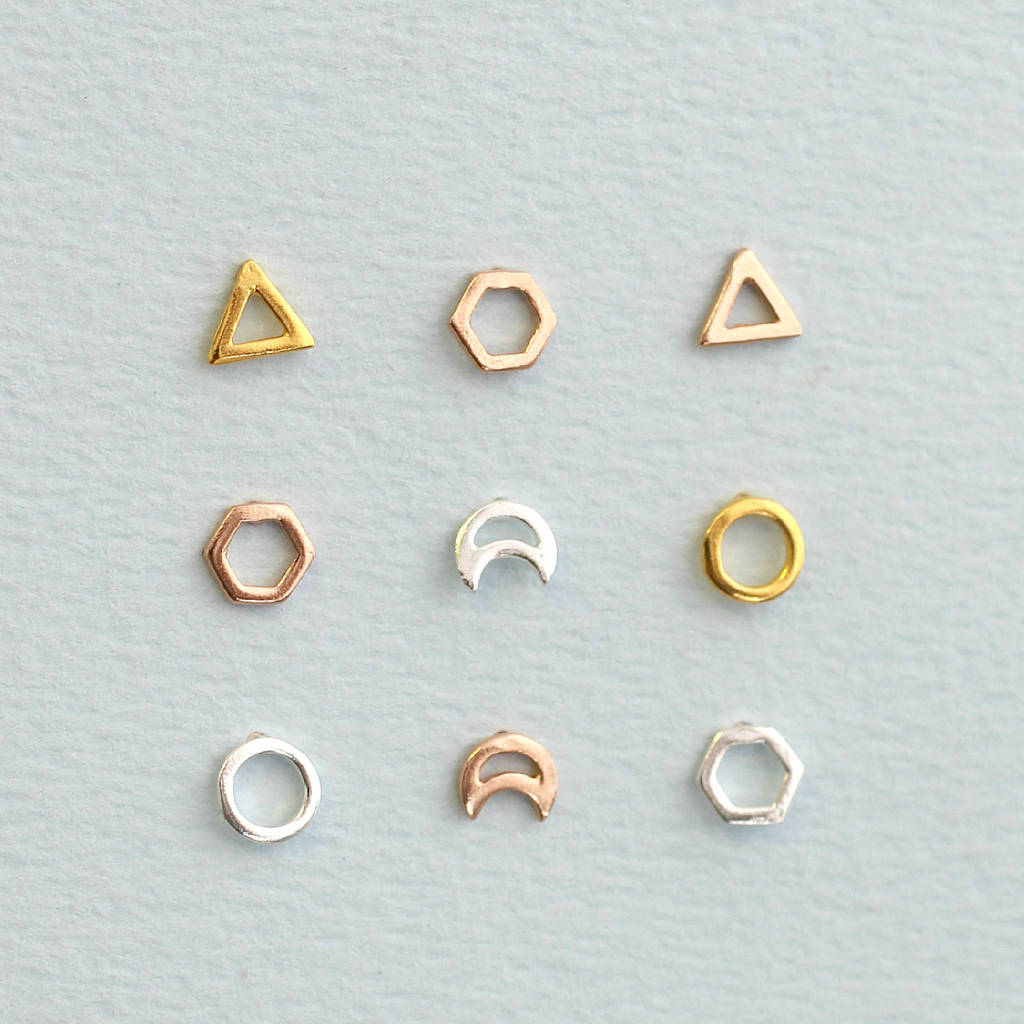 Fine Silver Geometric Studs In 9ct Yellow Gold Plate 925 Sterling And Rose