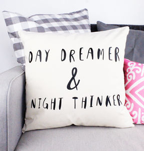 'Day Dreamer And Night Thinker' Cushion Cover - living room