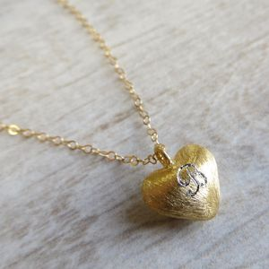 Gold Heart Initial Necklace - children's accessories