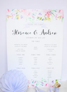Fleur D'eau A2 Wedding Table Seating Plan