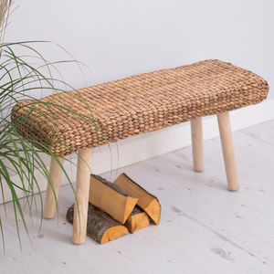 Wooden Hallway Bench With Wicker - furniture