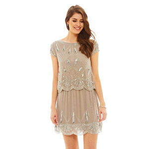 Yael Two Tiered Grey Sequin Dress