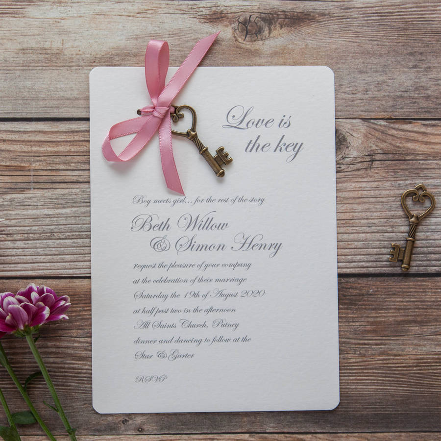 'love Is The Key' Diy Wedding Invitation Pack By Wedding