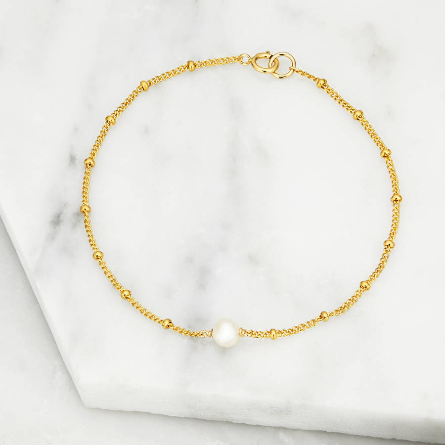 Gold Or Silver Delicate Pearl Satellite Bracelet By Lily