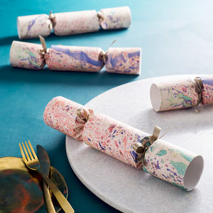 Box Set Of Six Luxury Marbled Crackers