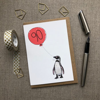 Personalised 90th Birthday Card Penguin Design
