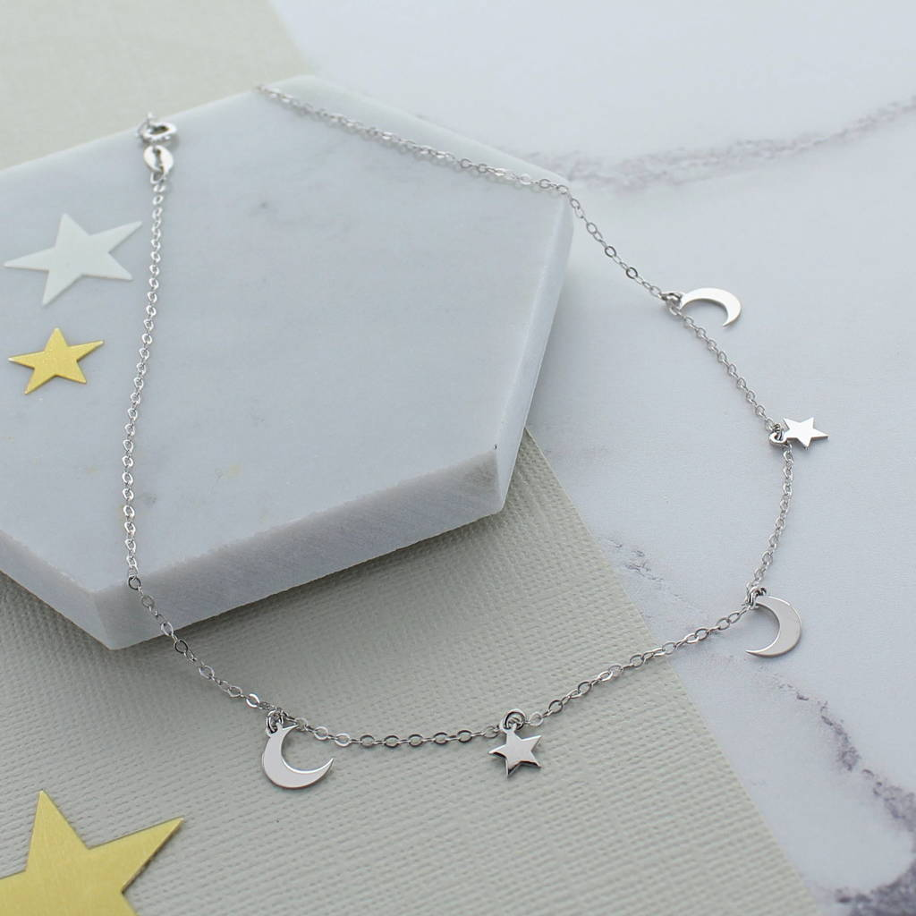 Moon And Stars Sterling Silver Choker by Francesca Rossi Designs