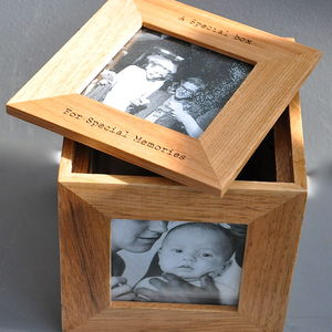 Personalised Oak Photo Cube Keepsake Box - picture frames