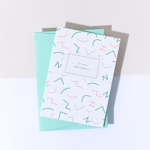 'It's Your Birthday' Wiggle Card, Park Green Envelope
