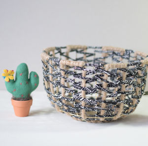 Ebony Handmade Wire Metal Fabric Woven Basket Bowl - kitchen