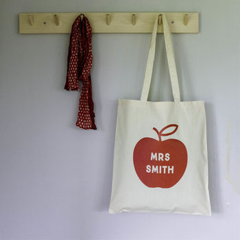 Personalised 'Apple For The Teacher' Tote Bag